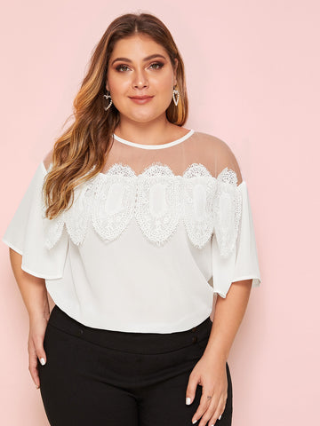Plus Contrast Mesh Lace Rim Blouse | Amy's Cart Singapore