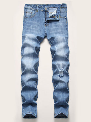 Men Pocket Zip Ripped Washed Jeans | Amy's Cart Singapore