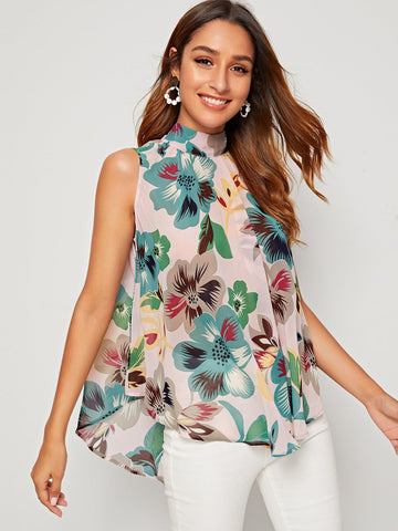 Floral High Low Hem Tie Back Top | Amy's Cart Singapore