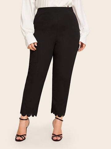 Plus Solid Scallop Hem Pants | Amy's Cart Singapore