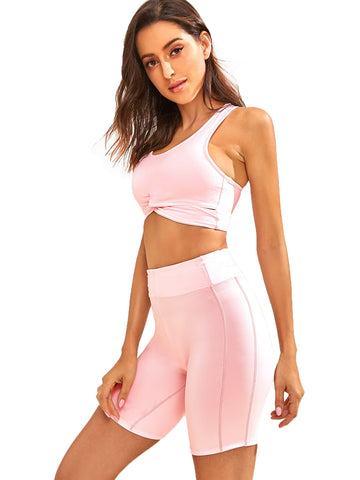 Twist Crop Top With Cycling Shorts | Amy's Cart Singapore