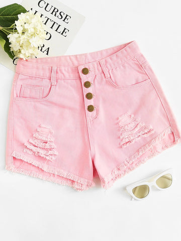 Ripped Raw Hem Button Fly Denim Shorts | Amy's Cart Singapore