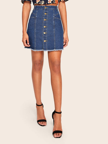 Raw Hem Single Breasted Denim Skirt | Amy's Cart Singapore