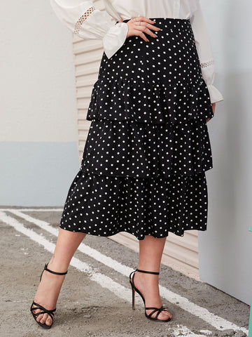 Plus Polka Dot Tiered Layer Skirt | Amy's Cart Singapore