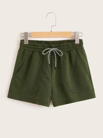 Pocket Patch Drawstring Waist Track Shorts | Amy's Cart Singapore