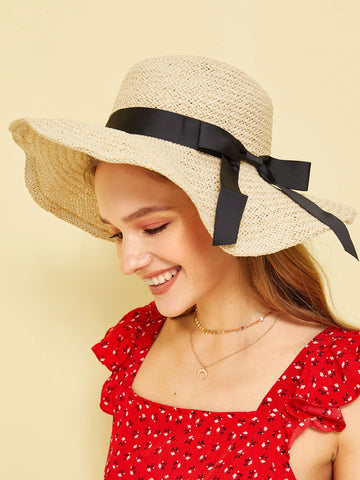 Bow Decor Straw Paper Hat | Amy's Cart Singapore