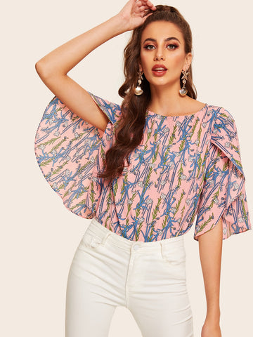 Floral Print Petal Sleeve Blouse | Amy's Cart Singapore