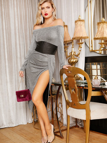Off Shoulder Split Thigh Glitter Dress Without  Belt | Amy's Cart Singapore