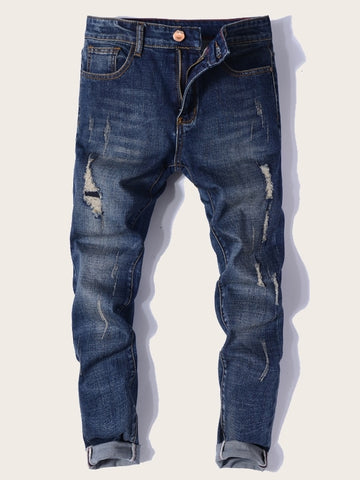 Men Zip Fly Ripped Washing Skinny Jeans | Amy's Cart Singapore