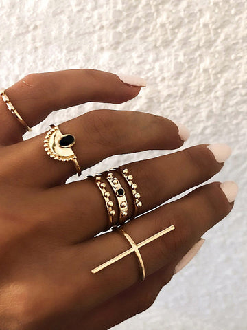 Bar & Half Round Ring Set 6pcs | Amy's Cart Singapore