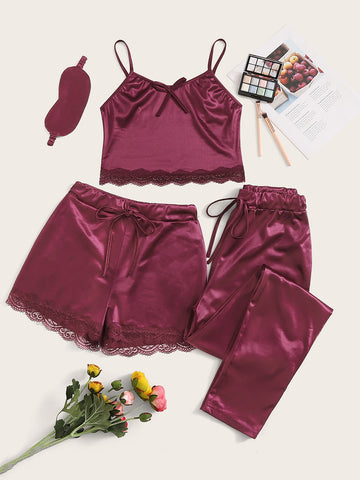 Floral Lace Satin Cami PJ Set With Pants & Eye Mask | Amy's Cart Singapore