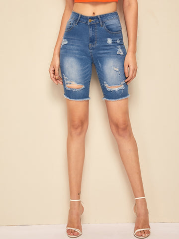 Raw Hem Ripped Cycling Denim Shorts | Amy's Cart Singapore