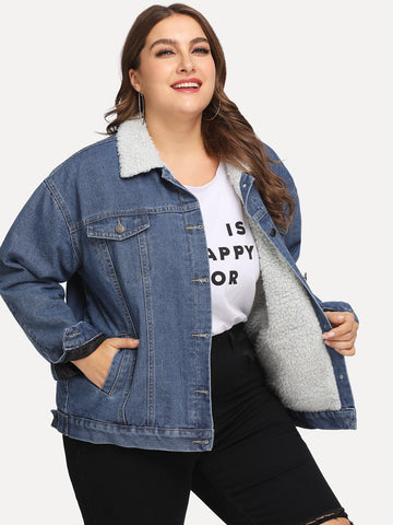 Plus Faux Shearling Trim Denim Jacket | Amy's Cart Singapore