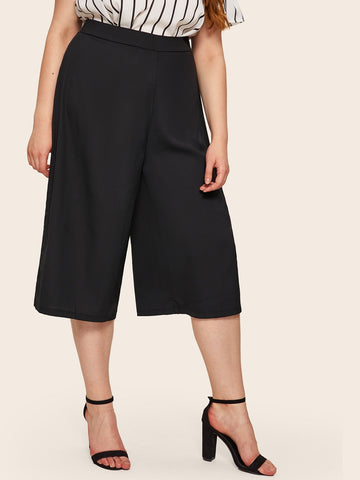 Plus Wide Leg Solid Pants | Amy's Cart Singapore
