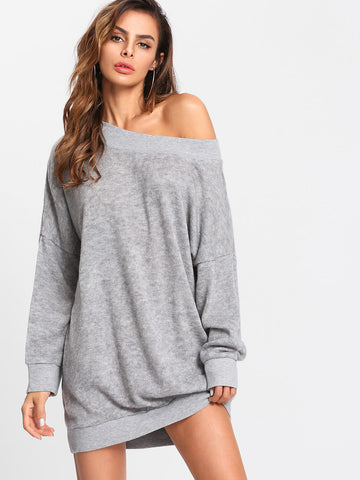 Off Shoulder Marled Knit Sweater Dress | Amy's Cart Singapore