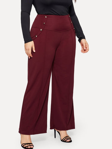Plus Wide Leg Button Pants | Amy's Cart Singapore