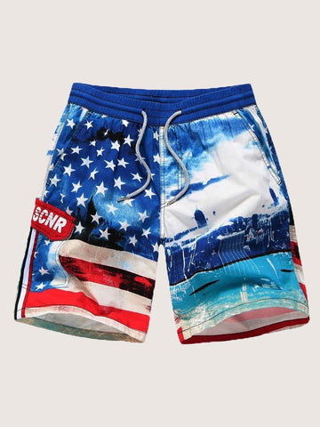 Men Architecture & Star Print Drawstring Bermuda Shorts | Amy's Cart Singapore