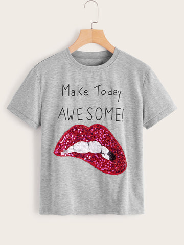 Contrast Sequin Lip Slogan Print Tee | Amy's Cart Singapore