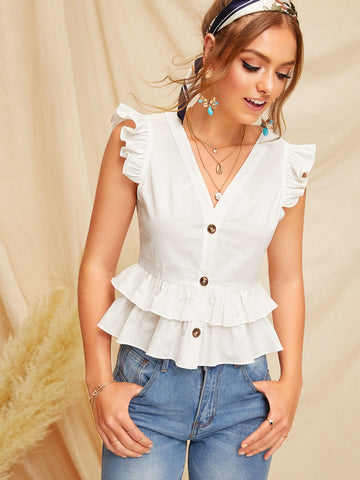 Button Front Layered Ruffle Sleeveless Blouse | Amy's Cart Singapore
