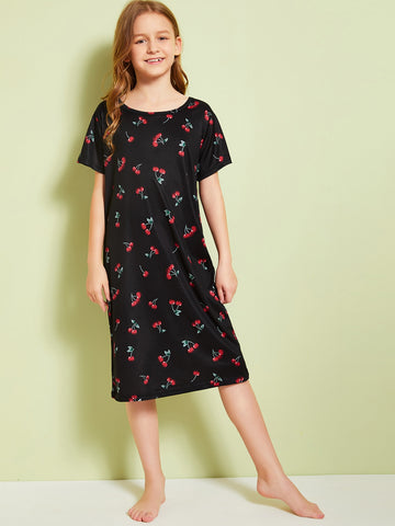 Girls Cherry Print Night Dress | Amy's Cart Singapore