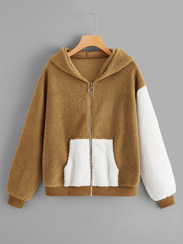 Pocket Front Zip-Up Hooded Teddy Jacket | Amy's Cart Singapore