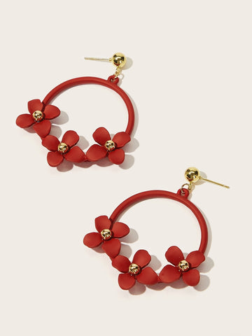 Flower Shaped Ring Drop Earrings 1pair | Amy's Cart Singapore