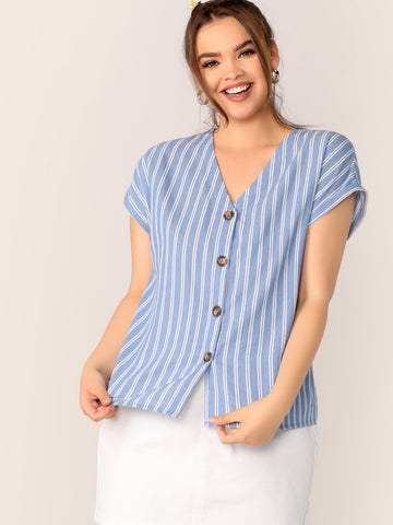 Plus Striped V-neck Button Fly Cuffed Sleeve Top | Amy's Cart Singapore