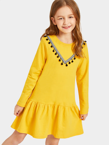 Girls Pompom Patched Flounce Hem Dress | Amy's Cart Singapore