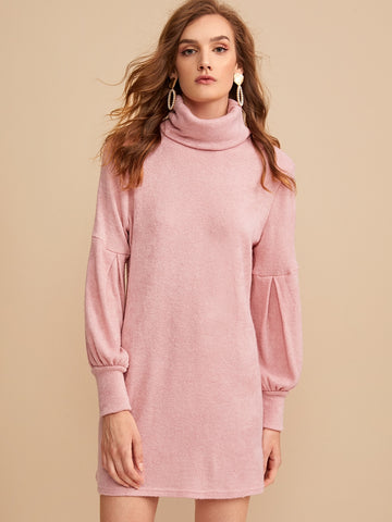 Solid High Neck Bishop Sleeve Sweater Dress | Amy's Cart Singapore