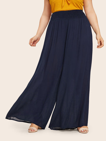 Plus Elastic Waist Wide Leg Pants | Amy's Cart Singapore