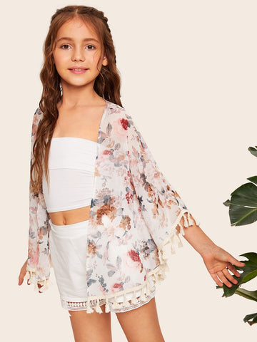 Girls Open Front Tassel Trim Floral Print Kimono | Amy's Cart Singapore