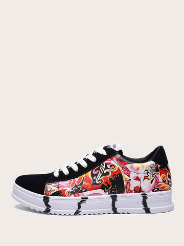 Men Peking Opera Print Lace-up Front Sneakers | Amy's Cart Singapore