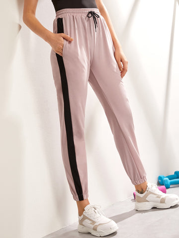 Drawstring Waist Contrast Side Seam Sweatpants | Amy's Cart Singapore