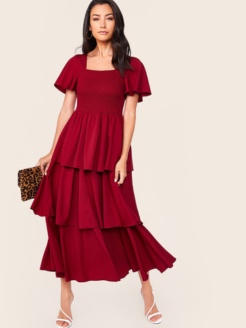Flutter Sleeve Shirred Bodice Layered Hem Dress | Amy's Cart Singapore