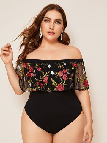 Plus Off Shoulder Embroidery Mesh Ruffle Foldover Bodysuit | Amy's Cart Singapore