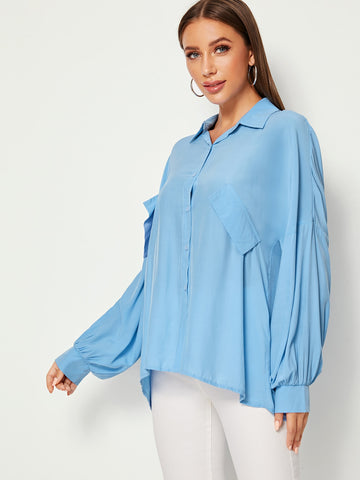 Drop Shoulder Solid Denim Blouse | Amy's Cart Singapore