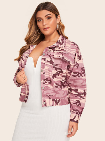 Plus Camouflage Print Double Pocket Denim Coat | Amy's Cart Singapore