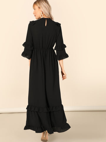 Layered Flounce Trim Keyhole Back Hijab Dress | Amy's Cart Singapore