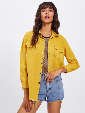 Frayed Curved Hem Denim Jacket | Amy's Cart Singapore