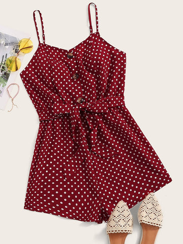 Dot Print Button Front Belted Slip Romper | Amy's Cart Singapore