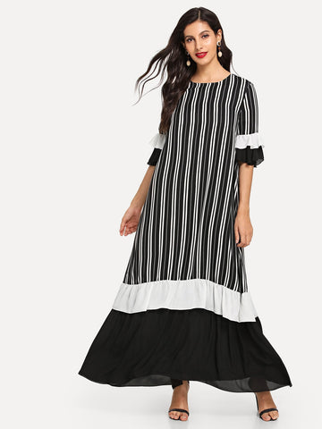 Layered Ruffle Trim Colorblock Striped Hijab Dress | Amy's Cart Singapore