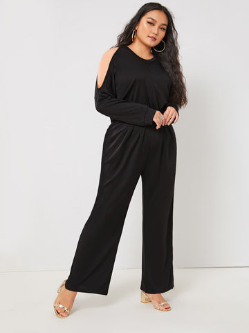 Plus Solid Cold Shoulder Elastic Waist Jumpsuit | Amy's Cart Singapore