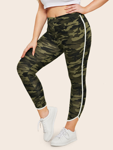 Plus Contrast Binding Camo Print Crop Leggings | Amy's Cart Singapore