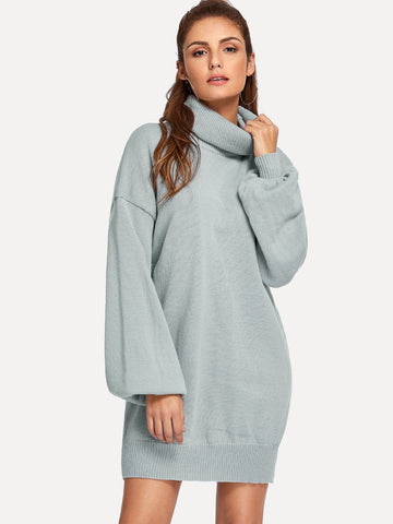 High Neck Drop Shoulder Solid Sweater Dress | Amy's Cart Singapore