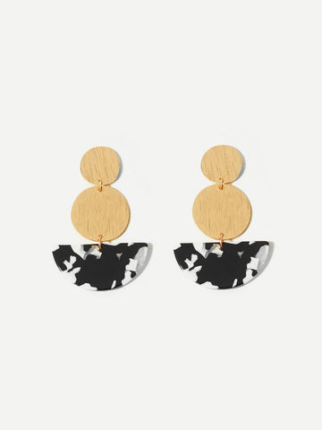 Marble Pattern Detail Round Drop Earrings 1pair | Amy's Cart Singapore
