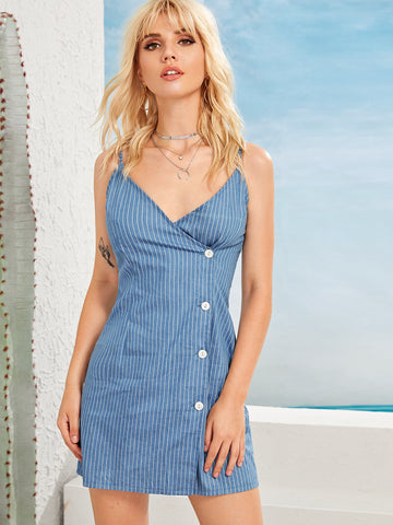 Striped Button Front Denim Cami Dress | Amy's Cart Singapore