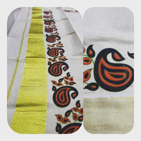 Tissue Silk Kerala Kasavu Saree Mango Print. | Amy's Cart Singapore