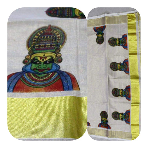 Tissue Silk Kerala Kasavu Saree Kathakali Print. | Amy's Cart Singapore