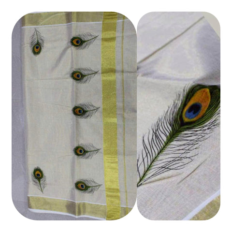 Tissue Silk Kerala Kasavu Saree Peacock Feather Print. | Amy's Cart Singapore