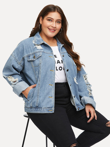 Plus Destroyed Denim Jacket | Amy's Cart Singapore